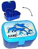 alles-meine.de GmbH Lunchbox / Brotdose -  Delfine - Fische  - Incl. Name - mit Extra Einsatz / ..