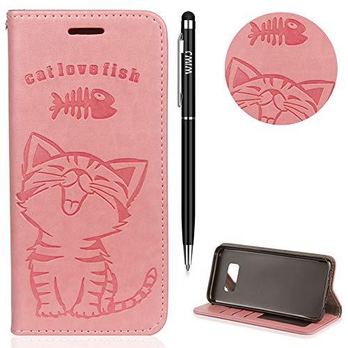 Galaxy S8 Hülle,Galaxy S8 Case Leder,WIWJ Prämie PU Klapphülle Leder Brieftasche[Impressum Cat Love Fish Handy Case]Schutzhülle für Samsung Galaxy S8-Rosa