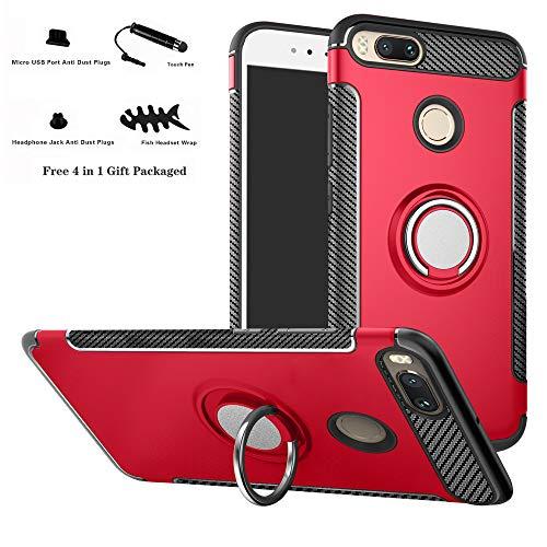 Labanema Xiaomi Mi 5X Funda, 360 Rotating Ring Grip Stand Holder Capa TPU + PC Shockproof Anti-rasguños teléfono Caso protección Cáscara Cover para Xiaomi Mi 5X / Mi A1 - Rojo