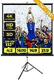 PROVIS Schermo Proiezione Treppiede (132 Pollici) 250cm Multi Formato 4:3 16:9 16:10 238x238 2 Metri e Mezzo Leggero Schermo Proiettore 2mt Telo Proiettore Schermo Bordi Videoproiezione 2 mt 4K HD 3D