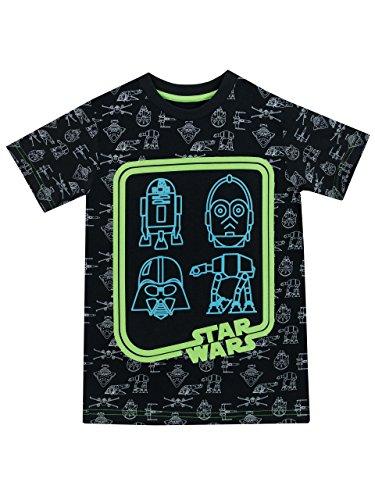 Star Wars - Maglietta a maniche corta Ragazzi - Si illuminano al buio - 12 a 13 Anni