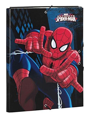 Safta SF-511543-068 - Carpeta folio con gomas y 3 solapas, diseño Spiderman