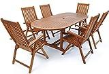 Deuba Sitzgruppe Vanamo aus Eukalyptusholz mit 6 klappbaren Stühlen und ausziehbaren Tisch