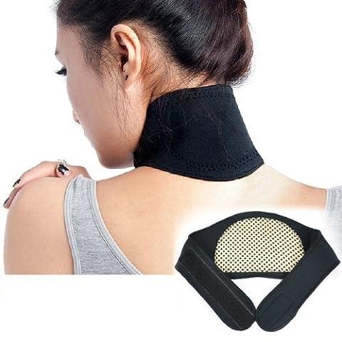 Homgaty Black Self Heating Neck Wrap Heat Relief Collar Strain Brace Support Strap Pain by Homgaty