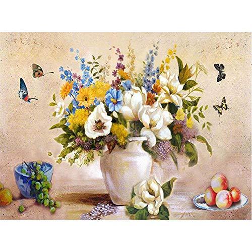 Painting shop DIY Digital Canvas Ölgemälde Geschenk für Erwachsene Kinder Malen nach Zahlen Kits Hauptdekorationen - Vasen und Schmetterlinge (Live-schmetterling-kit)