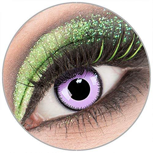 Farbige lila 'Violet Lunatic' Kontaktlinsen ohne Stärke 1 Paar Crazy Fun Kontaktlinsen mit Kombilösung (60ml) + Behälter zu Fasching Karneval Halloween - Topqualität von 'Giftauge'