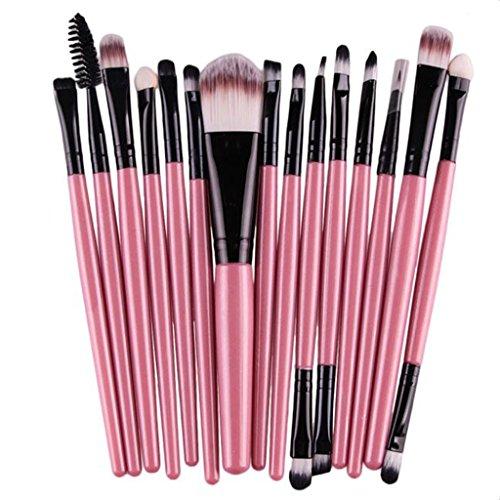 Pinceau de Maquillage, Bonjouree Lot de 15 Professionnel Pinceaux de Maquillage Pinceaux Fond De Teint Poudre pour le Visage Lèvres Yeux (Rose)