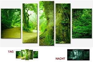 Startonight Toile imprimée phosphorescente sur châssis Motif forêt et nature 170 x 90 cm