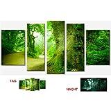 Cuadro en Lienzo Arboles en el Bosque Startonight 90x170 cm Cuadros Modernos Enmarcado y listo para colgar