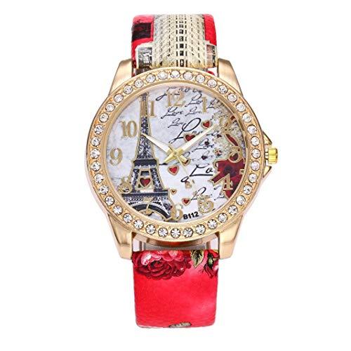Vintage Paris Eiffelturm Damenmode Uhr Kristall Leder Armbanduhr Chenang Böhmische Eiffelturm Mode Luxus Diamant hübsche Quartz Wrist Watch Rot für Frauen Mädchen Damen (Rot)