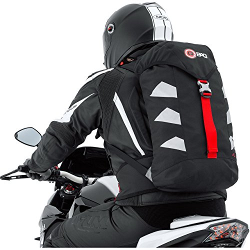QBag Motorrad Rucksack wasserdicht, Biker Rucksack für Damen & Herren, 25 Liter Stauraum, sehr leicht, reflektierende Seitenstreifen, Ausgang für Trinksystem, gepolstertes Rückenteil, schwarz/silber