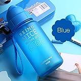WXZSB 400ML vasito biberón con Paja Cuerda portátil a Prueba de derrames Children's Cup Botella de plástico para niños Beber wate,Azul