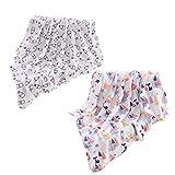 OHBABYKA Baby Musselin Swaddle Decke Tücher- 115x115 cm Feder Design Baby Bambus Baumwolle Swaddle Wrap ▪ Junge & Mädchen ▪ Baby Mulltücher, Stoffwindeln (BSW01)