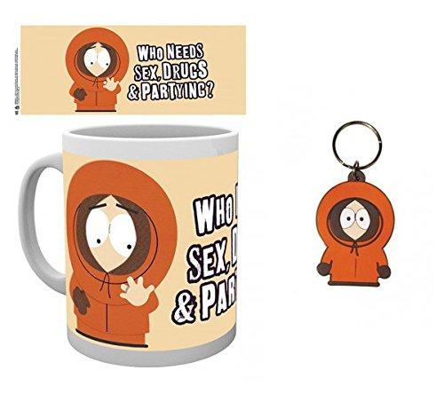 Set: South Park, Kenny Tazza Da Caffè Mug (9x8 cm) E 1 South Park, Portachiave (6x4 cm)