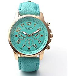 JSDDE Women' Fashion Simple PU Leather Strap Watch, Rose Gold Tone, Turquoise