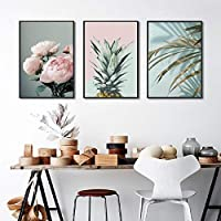 Tanyang Nordic Poster Pink Flower Green Blue Leaf Art Wall Pictures for Living Room Modern Home Decoration Pineapple Canvas Pictures