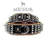 Michur Strike NO. 1, Hundehalsband, Halsband Nieten, Halsband Leder MIT Nieten, BEIGE/SCHWARZ, in Verschiedenen Größen erhältlich