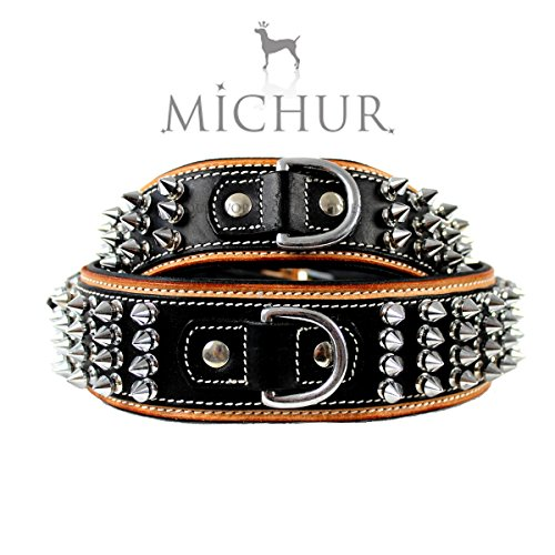Michur Strike brown leather collar with rivets for dogs available in different sizes