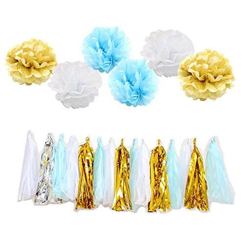 Pom Poms Blumen Tissue Quaste Party Dekorationen Kit für Baby Sunshine Birthday Party Supplies Brautdusche Hochzeit dekorativ ()