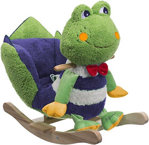 Bieco 74000342 - Plüsch Schaukeltier Frosch, grün, Kinder Schaukelstuhl, Sicherheitsgurt und Rückenlehne, Plüschschaukel für Babys und Kleinkinder ca. 61 x 35 x 48 cm