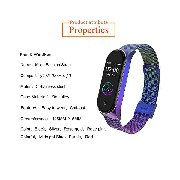 BDIG Correa Compatible Xiaomi Mi Band 4 Correas Metal,Pulsera de Acero Inoxidable Agradable para Mi Band 4 Correa (No Host) 4