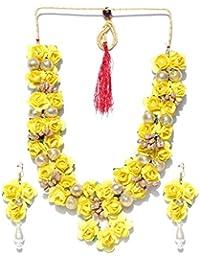 Priyaasi Yellow & Gold-Toned Floral Jewellery Set