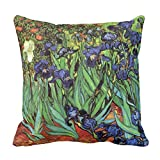 Hedes Van Gogh Kissenbezug, Blumenmuster, Vintage, fein, violett, Gartendekoration, quadratisch, 45,7 x 45,7 cm
