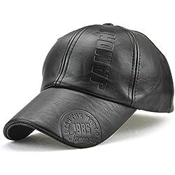 Roffatide Hombre Moleteado Cuero de PU Gorra de Beisbol Sombrero de Sol Otoño e Invierno Ajustable Negro