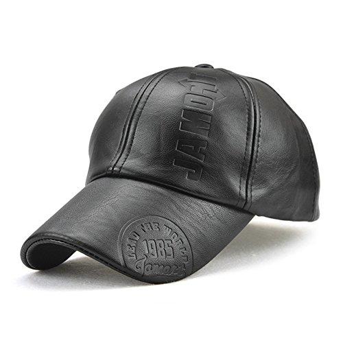 Roffatide Herren Rändelung PU Leder Baseballmütze Schirmmütze Kappe Herbst und Winter Schwarz (Armee Fitted Hut Camo)