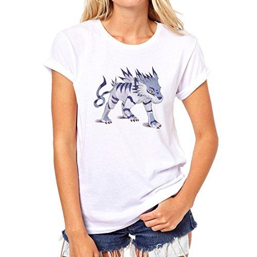 Digimon Garurumon Wolf Gabumon Agressive Damen T-Shirt Weiß