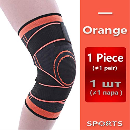 RTGFS Knie Unterstützung Professionelle Schutz Sport Knie Pad Atmungsaktive Bandage Knieorthese Basketball Tennis Radfahren XXL Orange (Knieorthese Arthritis Xxl Für)