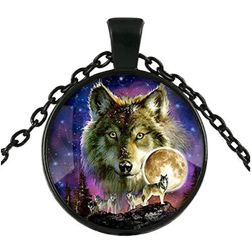 DADATU Halsketten für Herren Mode Wolf Starry Himmel Anhänger Halskette Glas Cabochon Silber Statement Kette Halskette Frauen - Vater Himmel Kostüm