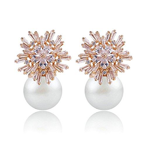 Epinki Damen Ohrringe, 14K Weiß Vergoldet Ohrstecker Damenohrstecker mit Perle Zirkonia