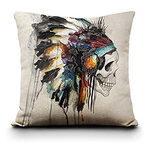 Weike 45,7x 45,7cm Leinen Baumwolle Home Decor Werfen Kissen Fall Kissenbezug, baumwolle, merhfarbig, Indian Skull - Baumwolle Indian Werfen