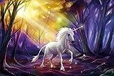 1art1 92109 Einhörner - Das Einhorn Im Zauberwald Selbstklebende Fototapete Poster-Tapete 180 x 120 cm