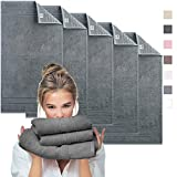sei Design Luxus Frottee Handtuch Set 5 TLG. Aqua Fibro | 5-er Pack 50 x 100 cm, 550 g/m² | 100% Ägäis Baumwolle anthrazit-grau 50x100