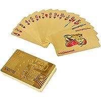 YoungRich Cartas Poker de Oro Póquer de Lujo Con Euro Patrón Impermeable para Regalo, Juegos de Naipes Trucos de Magia en Fiesta