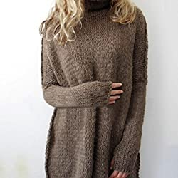 Transer® Ladies Long Sleeve Sweater Knit Pullover ,Women Knitted Jumper Tops Collar Loose