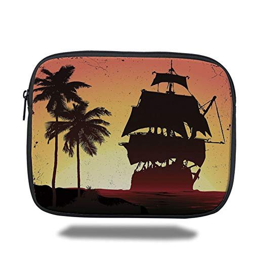 Tablet Bag for Ipad air 2/3/4/mini 9.7 inch,Pirate,Buccaneers Ship Sailing on Mysterious Waters Tropic Palm Trees Grunge Mist,Yellow Black Coral,3D Print Coral Mist