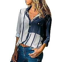 Blusen Kolylong® Damen Elegant V-Ausschnitt Lange Ärmel Blusen mit Knöpfe  Vintage Kragen Langarmshirts f8ebff612c
