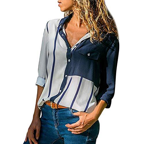 Bluse Streifen Huihong Damen Casual Manschette Langarm V Ausschnitt Button Up Farbe Block Elegante T Shirt Arbeitshemd (Weiß, L/EU:40)