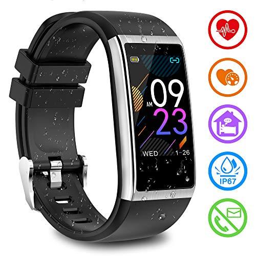 Fitness Armband mit Pulsmesser Fitness Tracker mit Blutdruckmessung Pulsuhren Fitness Uhr Aktivitätstracker Schrittzähler Schlafmonitor Uhr Wasserdicht IP67 Smartwatch Herren Damen für iOS Android - Fitness-bluetooth-uhr