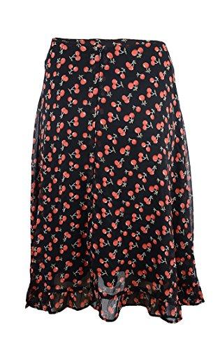 Küstenluder XELINA Cherry 50s Kirschen Swing Skirt / Rock - Blk Rockabilly Schwarz mit roten Kirschen