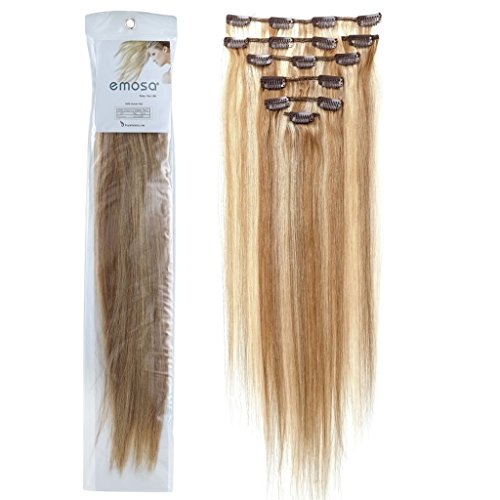 Emosa 7Pcs 70g Clip In Silky Soft Remy Real Human Hair Extensions #12/613 Light Brown Mixed With Light Blonde Silky Soft (Grammy Hair Extension Human)