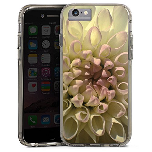 Apple iPhone X Bumper Hülle Bumper Case Glitzer Hülle Blume Flower Dahlie Bumper Case transparent grau