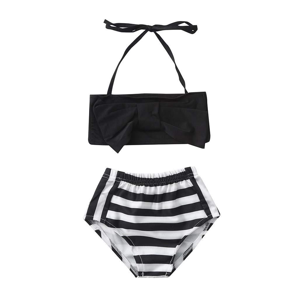 Topgrowth Costumi Bagno Ragazza Due Pezzi Bikini Bambina Set Costumi da Bagno Stampa a Righe Crop Top Swimsuit Costumi Mare Ragazze 8-14 Anni