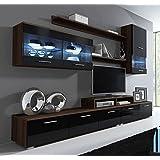 Muebles Bonitos – Mueble de salón Claudia modelo 11 wengué y Negro (2,5m)