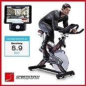 Sportstech Profi Indoor Cycle SX400 mit Smartphone App Steuerung + Google Street View, 22KG Schwungrad, Armauflage, Pulsgurt kompatibel - Speedbike in Studioqualität mit flüsterleisem Riemenantrieb - Fahrrad Ergometer bis 150 KG