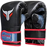 Mytra Fusion Punch Bag Mitt Gloves for Boxing MMA Muay Thai Fitness Gym Workout Training (Black Red, S/M)