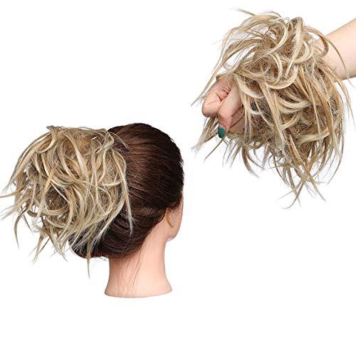 Extension/accessorio per capelli sintetico, chignon in stile spettinato, capelli dritti, elastico, biondo castano, per un'acconciatura immediata